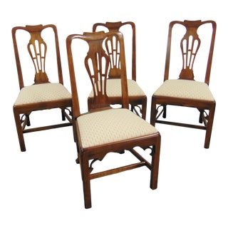Statton Oxford Cherry Chippendale Style Dining Chairs - Set of 4 For Sale