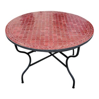 "Moroccan 48"" Round Burgundy Mosaic Coffee Table For Sale"