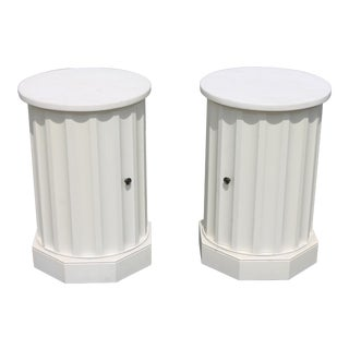 Fluted Carved White End Tables - a Pair For Sale