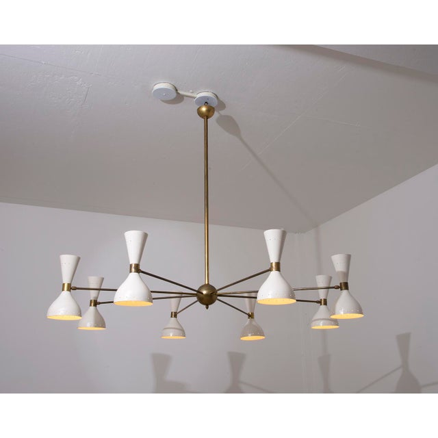 Stilnovo Eight Arm Diabolo Chandelier, Italy, 1950s For Sale - Image 11 of 12
