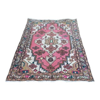 1960s Handmade Boho Chic Oushak Rug- 3′7″ × 4′10″ For Sale