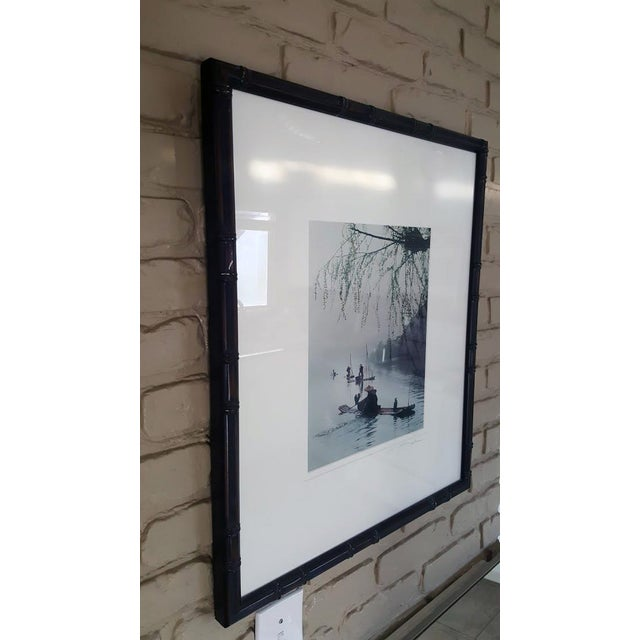 "Blue ""Village Fisherman"" Signed Matted and Framed Photographic Print in Ebonized Faux Bamboo For Sale - Image 8 of 9"