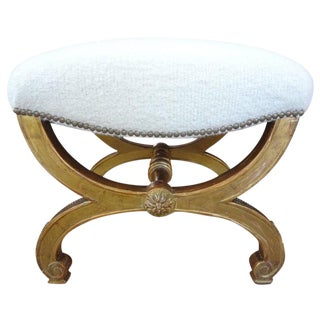 19th Century Vintage French Louis XVI Style Gilt Wood Stool For Sale