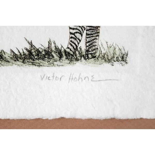 Contemporary Zebra Hand Colored Engraving by Victor Hohne For Sale - Image 3 of 6