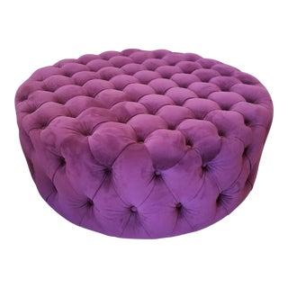 Plum Purple Round Tufted Ottoman