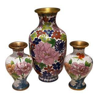 Vintage Mid-Century Cloisonne Bird & Floral Patterned Vase Set - 3 Pieces For Sale