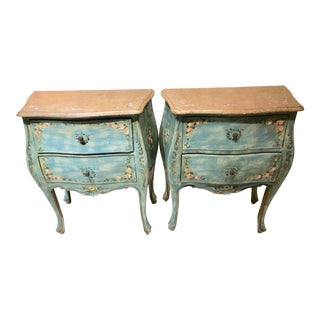 Vintage Florentine Painted Wood Dressers End Tables - a Pair For Sale