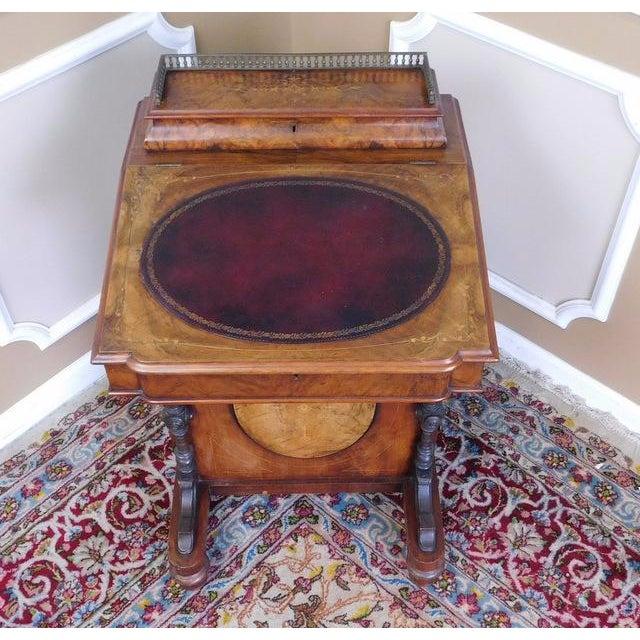 Victorian English Burl Walnut Davenport Desk - Image 4 of 9