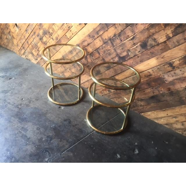 Vintage Swivel Brass Glass Side Tables - A Pair For Sale - Image 4 of 8