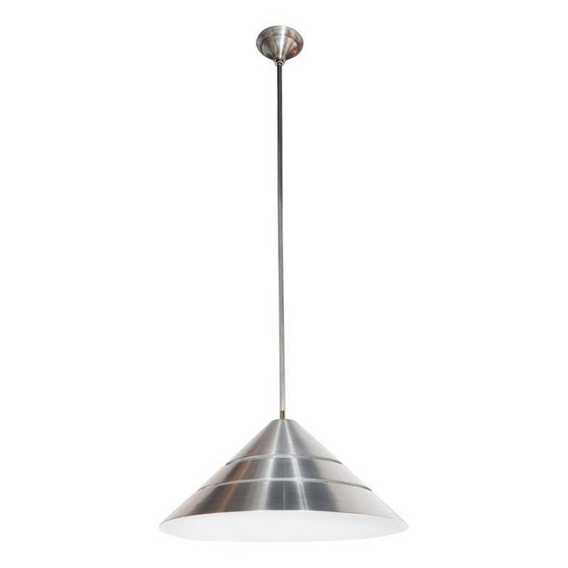 Silver Mid-Century Brushed Aluminum Cone Ceiling Pendant by Hans-Agne Jakobsson For Sale - Image 8 of 8