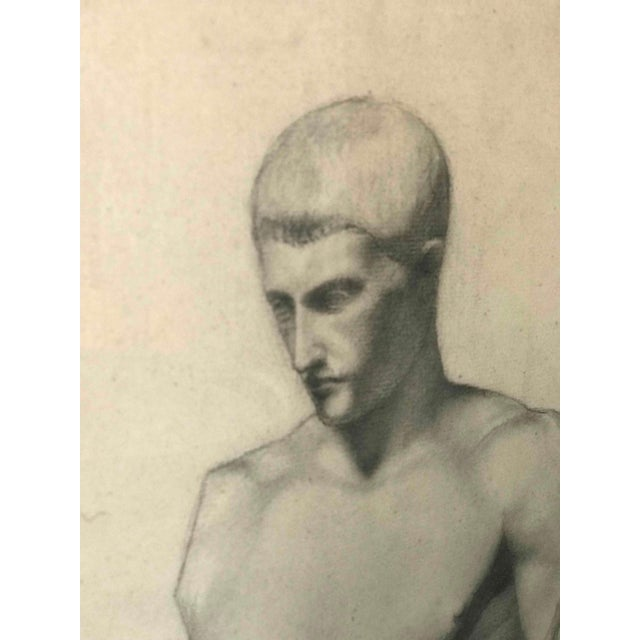 Paper A Pair of Charcoal Drawings of a Sculpture of a Male Nude For Sale - Image 7 of 8