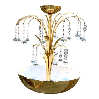 Paavo Tynell for Lightolier Brass Bowl Glass Ball Pendant Chandelier For Sale