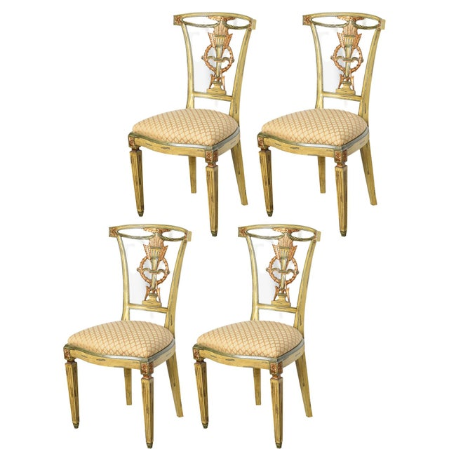 Italian Italian Louis XVI Style Painted and Gilt Wood Chairs, Set- of 4 For Sale - Image 3 of 13