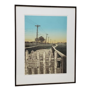 "Martin Levine (American, 20th C.) ""Private Property"" Limited Edition Color Lithograph C.1982 For Sale"