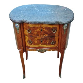 Antique 19th C. French Bronze Mounted & Porcelain Plaque Inlaid Nightstand Commode For Sale