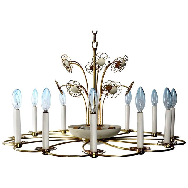 Floral Chandelier by Lightolier After Tynell For Sale - Image 11 of 11