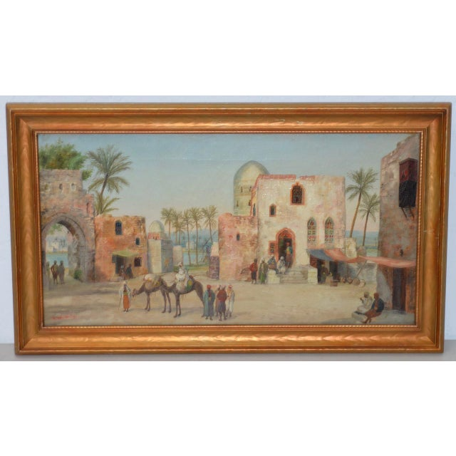 Blue Late 19th to Early 20th Century Middle East Oil Painting For Sale - Image 8 of 8