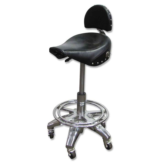 Studded Black Leather Stool For Sale - Image 10 of 10