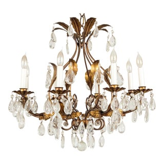 Italian Gilt Tole and Crystal Drops Eight Arm Chandelier For Sale