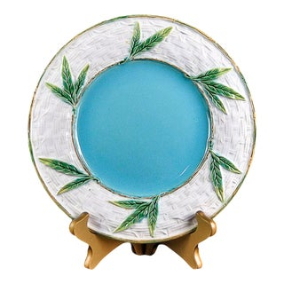 Late 19th Century George Jones Majolica 'Bamboo and Wicker' Plate For Sale