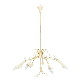 Italian Brass Flower Chandelier Eight Arm Attributed Stilnovo Italy 1950s For Sale