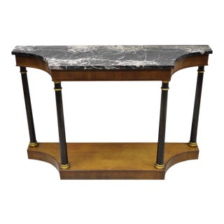 20th Century French Empire Style Marble Top Console Hall Table For Sale