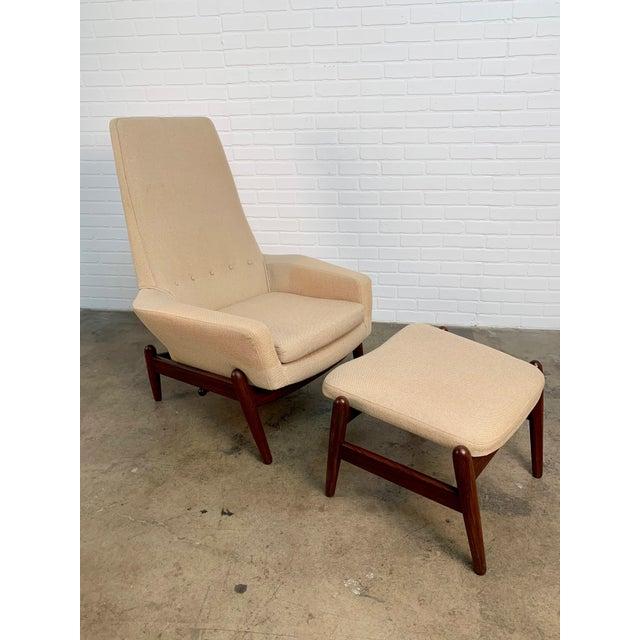 Mid-Century Modern i.b. Kofod-Larsen High Back Lounge Chair Model Pd30 With Ottoman, Circa 1960 For Sale - Image 3 of 13