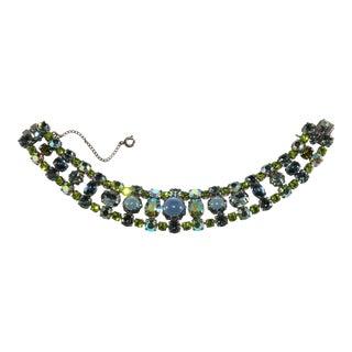 Schreiner Bracelet Rhinestones Glass Cabochons Blue Green For Sale