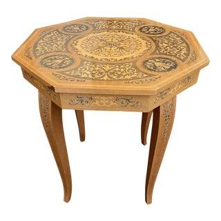 1980s Vintage Italian Inlaid Wood Music Box Table For Sale