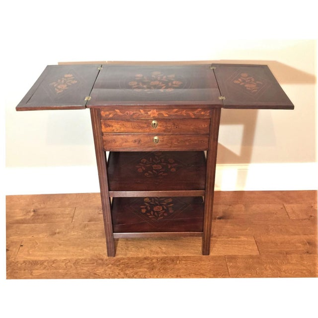 Campaign Antique Marquetry Inlaid Dressing Table For Sale - Image 3 of 13