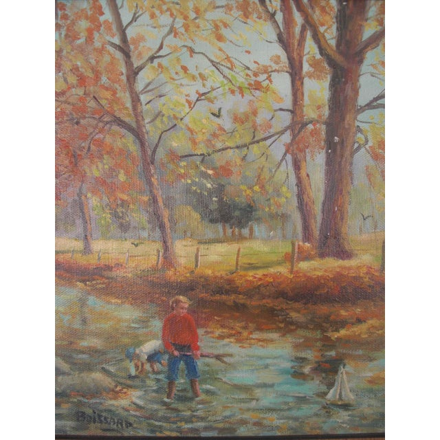 Charming vintage landscape painting of boys playing with sailboats in a stream in the woods. Signed Boissard on lower left...