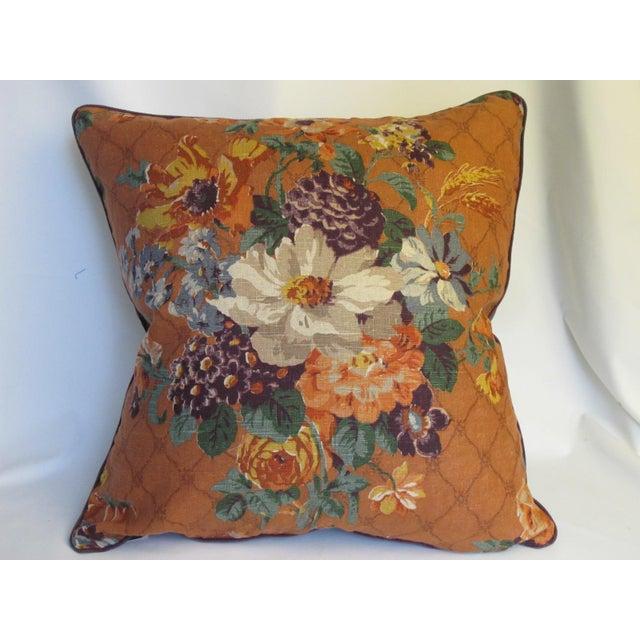 English Vintage English Printed Linen Pillow For Sale - Image 3 of 3