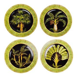 Vintage Andrea by Sadek Jungle Safari Silver Palm Dinner Plate - Set of 4 For Sale