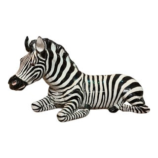 1960's Vintage Terra-Cotta Zebra Statue For Sale