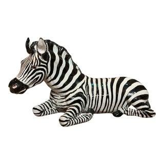 Hand Made Life Size Glazed Terra Cotta Zebra Statue For Sale