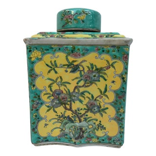 Colorful Chinese Chinoiserie Ginger Jar For Sale
