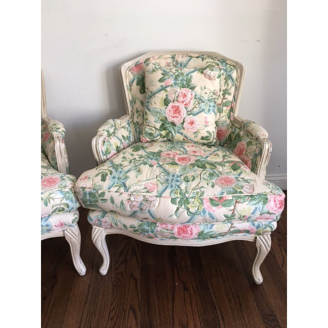 Shabby Chic Floral Bergere Chairs - A Pair - Image 5 of 11