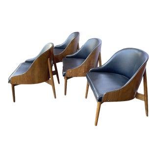Vintage Mid Century Modern Kodawood Walnut Lounge Barrel Back Chairs - Set of 4 For Sale