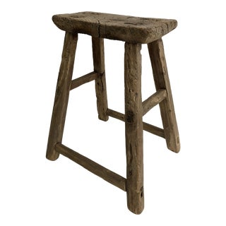 1900s Chinese Style Elm Low Stool For Sale