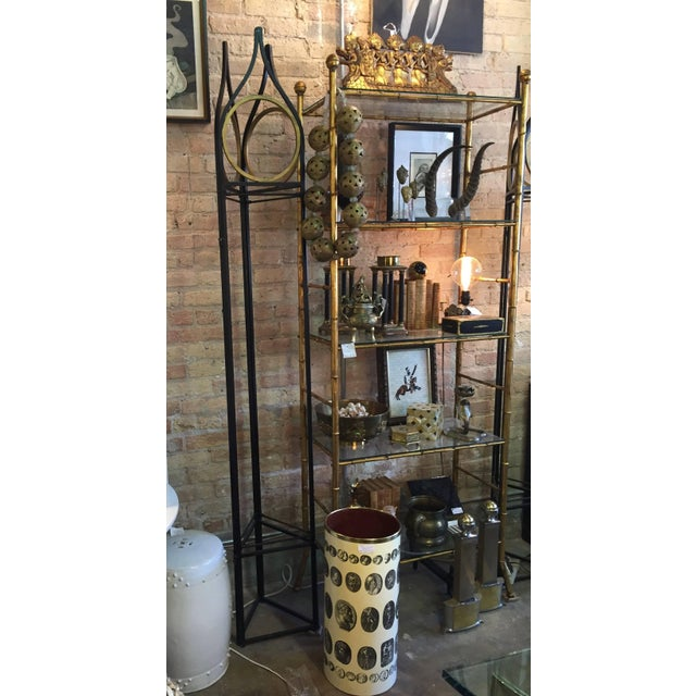 Custom iron and gilt paint trellis/screen. The whole unfolds into a screen, if desired. Designed to hold fabric as well....