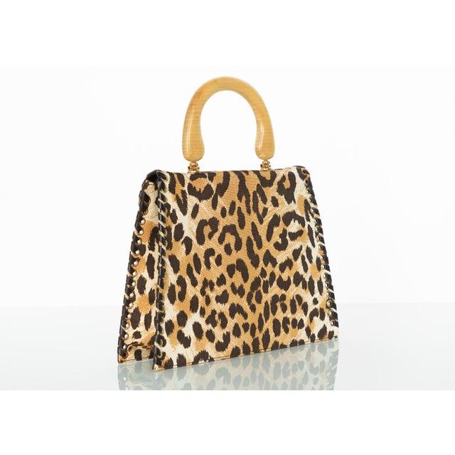 Yves Saint Laurent Yves Saint Laurent Leopard Animal Print Canvas Wooden Top Handle Bag, 1990s For Sale - Image 4 of 10
