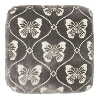 Schumacher Papillion Velvet Pillow in Pewter For Sale