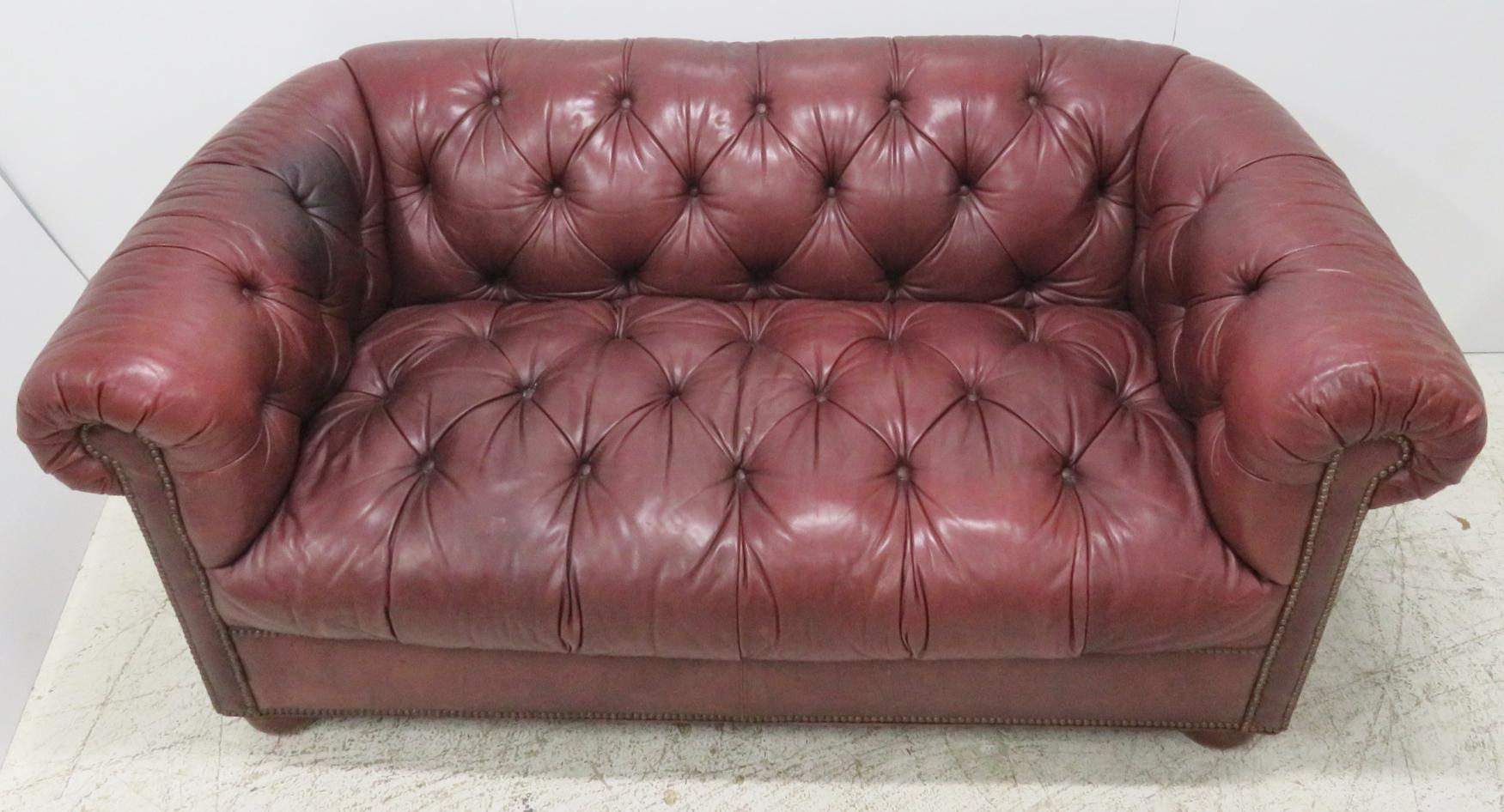 Burgundy Tufted Leather Chesterfield Sofa For Sale In Philadelphia   Image  6 Of 9