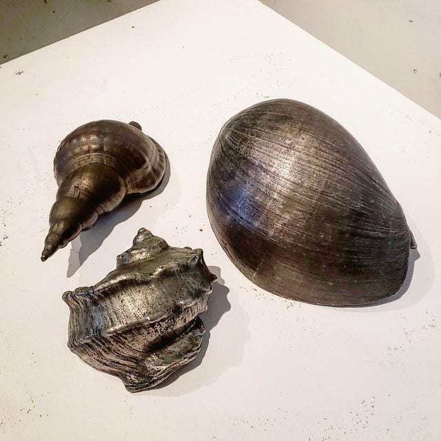 Large Vintage Italian Silvered Bronze Seashells- Set of 3 For Sale - Image 4 of 12