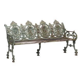 English Iron and Wood Garden Bench For Sale