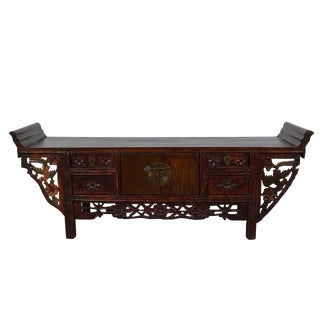 Late 19th Century Antique Chinese Carved Sideboard For Sale