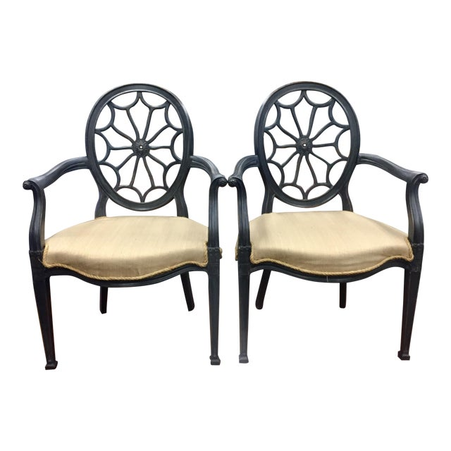 Ebonised Wheel Back Chairs - a Pair For Sale