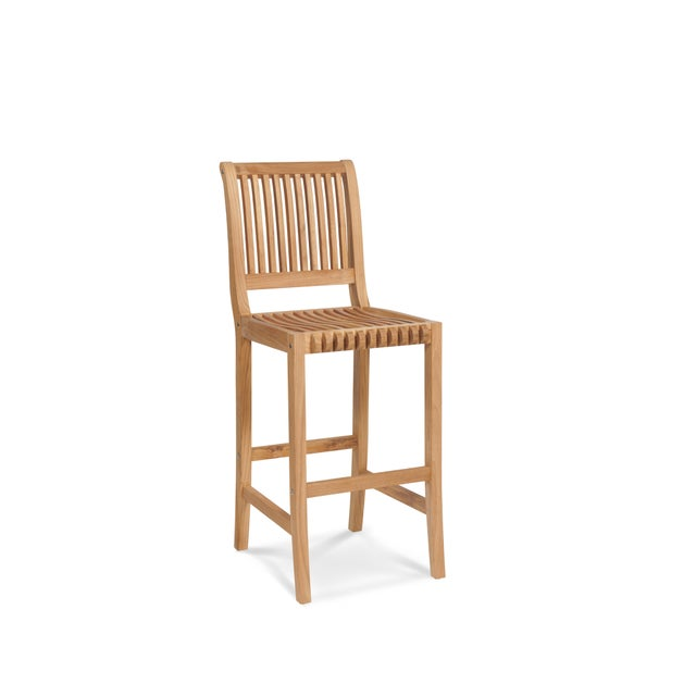 Palm Teak Outdoor Bar Chair For Sale - Image 4 of 4