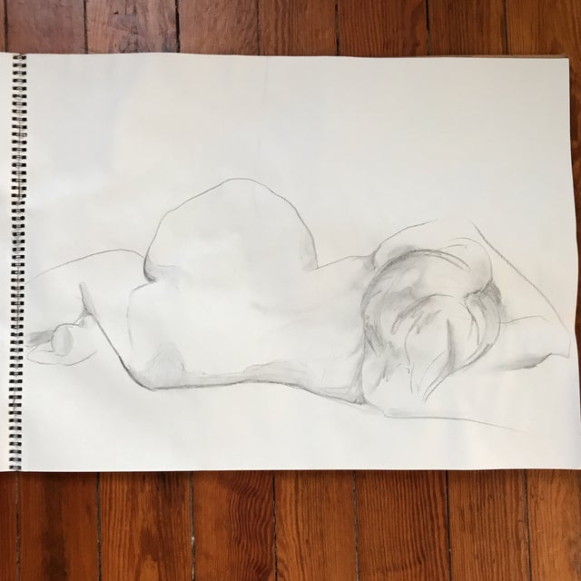 "Loose, figural drawing of nude by artist Alice Houston Miles, 2013. Charcoal on heavyweight paper. Measures: 18"" x 24""...."