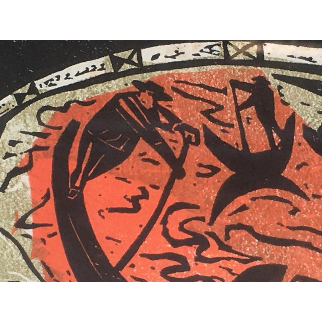 Mid Century Modern Irving Amen Woodblock Print of Venice For Sale - Image 9 of 10
